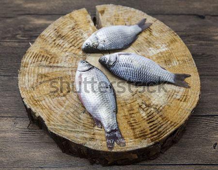 Fresh raw fish carp caught lying on a wooden stump. Live fish crucian Carassius auratus gibelio. Stock photo © mcherevan