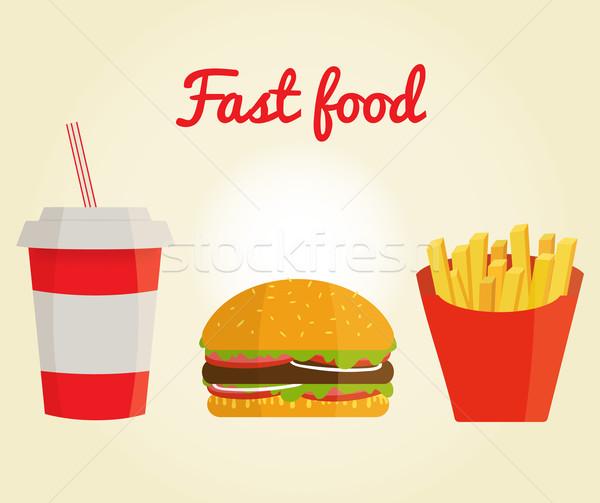 Szalag gyorsételek kóla hamburger sültkrumpli étel Stock fotó © mcherevan