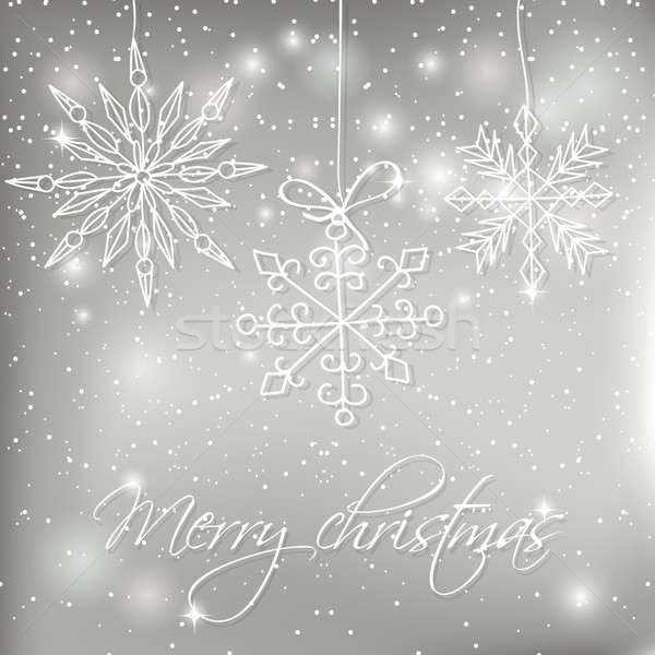 Abstract silver christmas  card with hand drawn snowflakes.  Stock photo © mcherevan