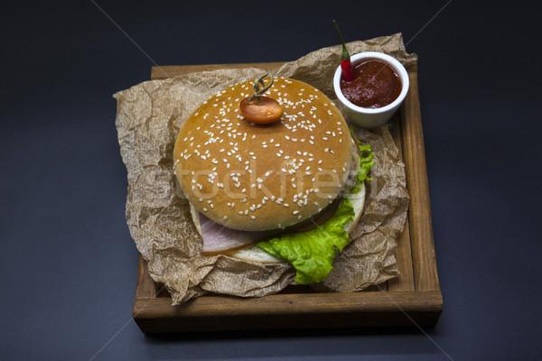 クラシカル アメリカン 新鮮な ジューシー ハンバーガー 鶏 ストックフォト © mcherevan