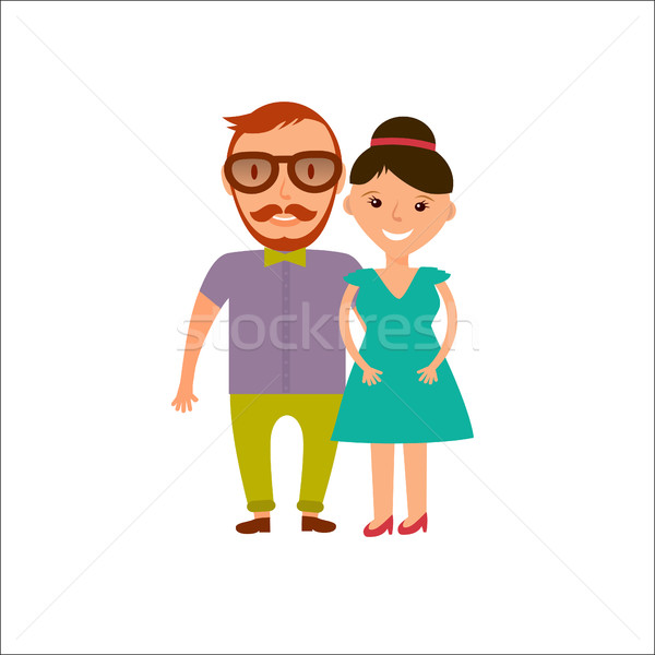 Happy  Smiling  Couple in Flat Style. Man and woman in casual clothing isolated on white background. Stock photo © mcherevan
