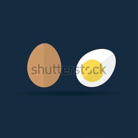Vector ruw ei icon twee bruin Stockfoto © mcherevan