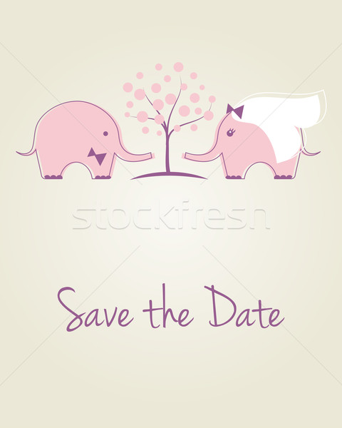 Wedding card with two cute pink elephants. Stock photo © mcherevan