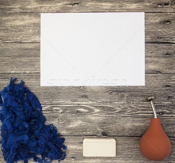 Ottimo luogo testo blu lana sapone Foto d'archivio © mcherevan