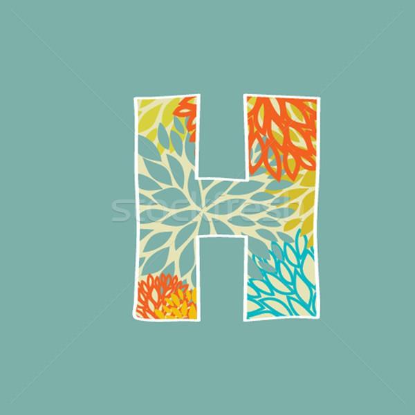Dessinés à la main floral lettre h isolé bleu fleur Photo stock © mcherevan
