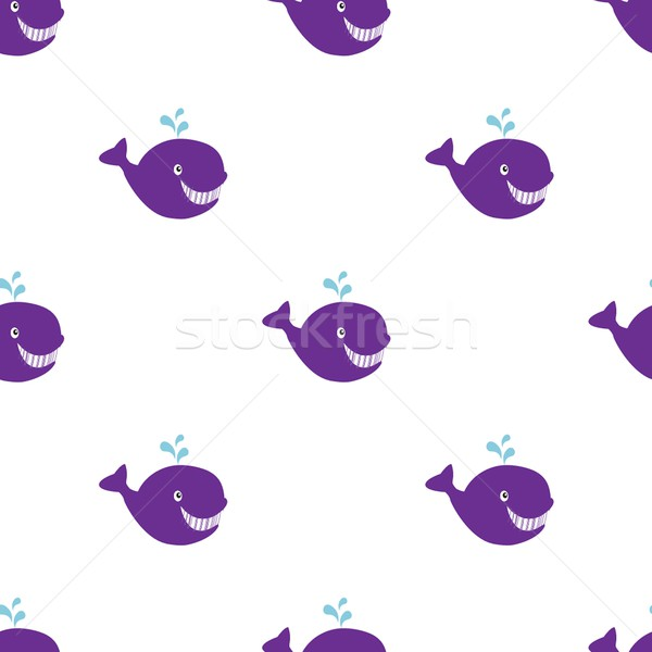 Seamless vintage Whale background, hand drawn vector illustration. Stock photo © mcherevan