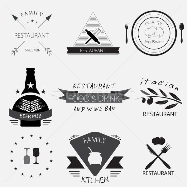 Label, logo or menu design for restaurant or bakery set Stock photo © mcherevan