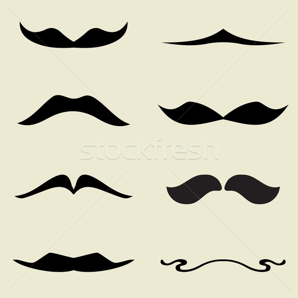 Seamless pattern with black mustaches on white background Stock photo © mcherevan