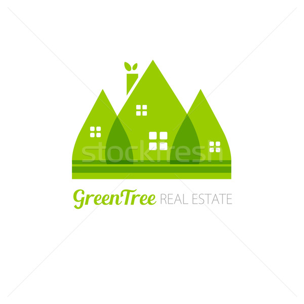 Eco house with green leaves. House logo. Ecological house icon Stock photo © mcherevan
