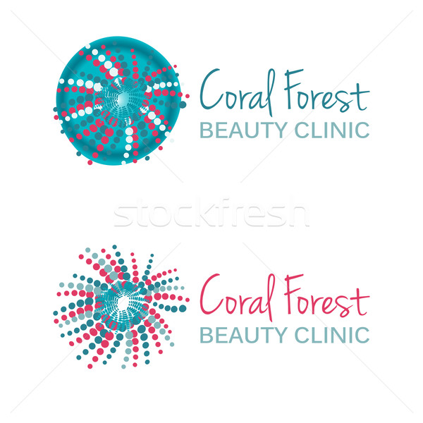 Vector illustration with coral symbol. Logo design. For beauty salon, spa center, health clinic. Stock photo © mcherevan