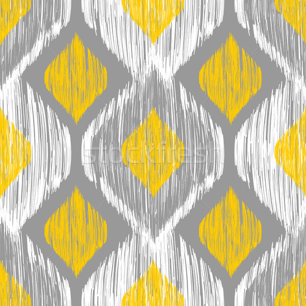 Ikat ethnic seamless pattern in blue and yellow colors Stock photo © mcherevan