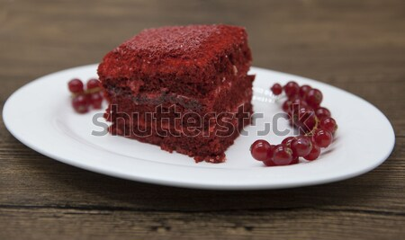 Red Velvet, fresh delicious diet cake  at Dukan Diet on a porcelain plate with a spoon  on a wooden  Stock photo © mcherevan