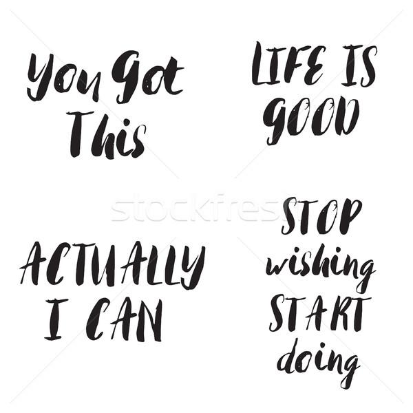 Motivacional conjunto citações vetor inspiração tipografia Foto stock © mcherevan
