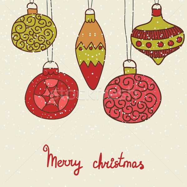 Klasszikus karácsonyi üdvözlet kézzel rajzolt retro játékok illusztráció Stock fotó © mcherevan