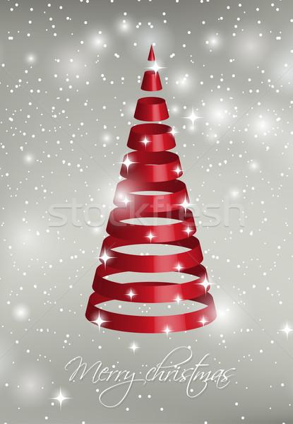 Noel ağacı gümüş kar taneleri poster web Stok fotoğraf © mcherevan