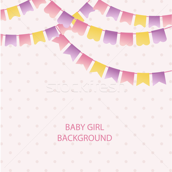 Cute vintage textile pink and violet bunting flags for girl's baby shower background. Cute flag garl Stock photo © mcherevan