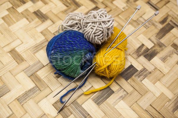 Trzy piłka wełniany żółty niebieski beżowy Zdjęcia stock © mcherevan