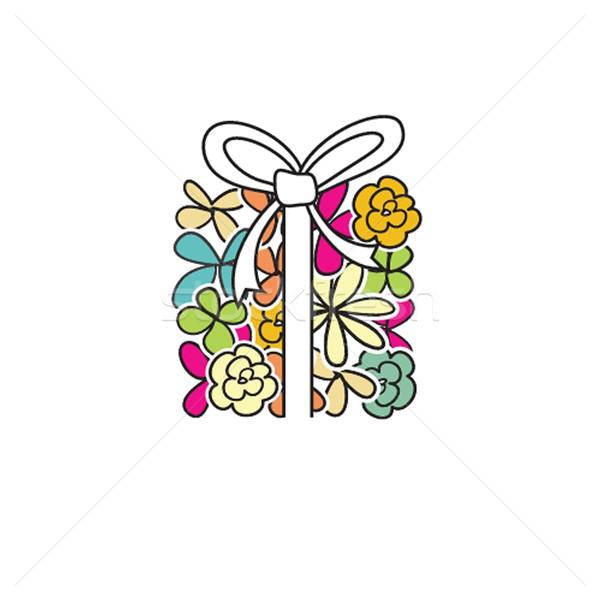 Sevimli sunmak çiçek kutu açık mavi sevmek Stok fotoğraf © mcherevan