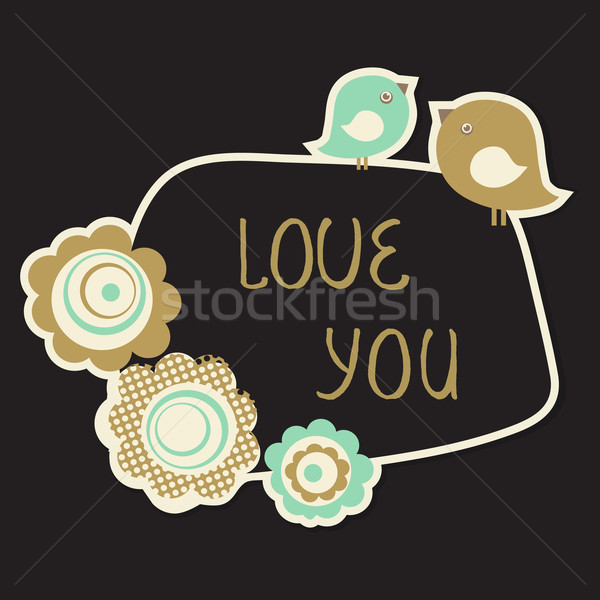 Cute Love You Card with birds couple and flowers. Vintage pastel colored vector illustration. Stock photo © mcherevan
