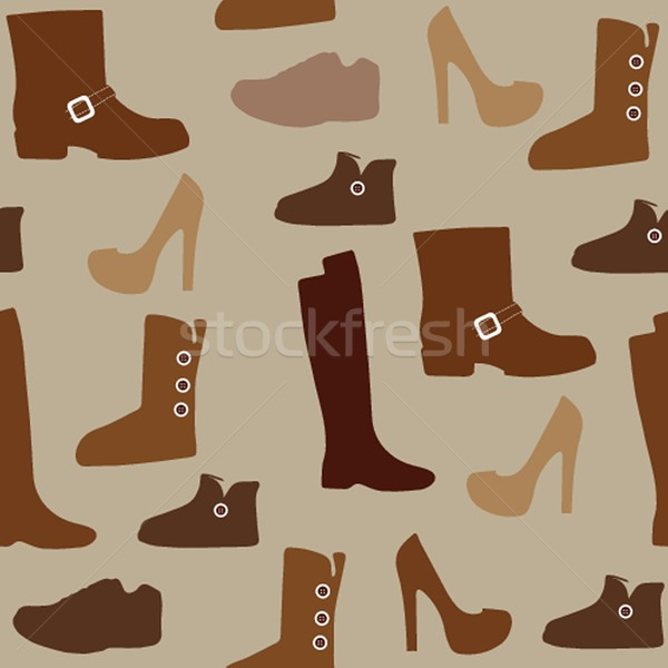 Seamless pattern with different kind of shoes. Boots, heels, shearling boots, riding boots and more. Stock photo © mcherevan