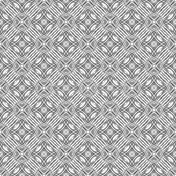 Black and white geometrical fabric seamless pattern, vector. Stock photo © mcherevan