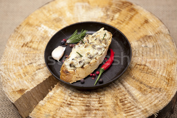 Foto d'archivio: Home · caldo · sandwich · funghi · formaggio
