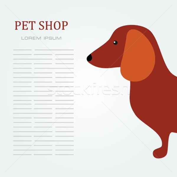 Pet shop Dog standing silhouette vector logo design . Stock photo © mcherevan