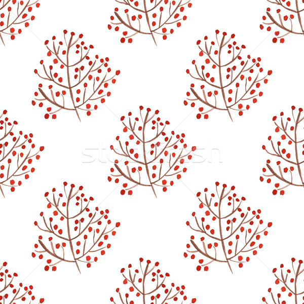 Watercolor seamless pattern with red berry branches. Stock photo © mcherevan