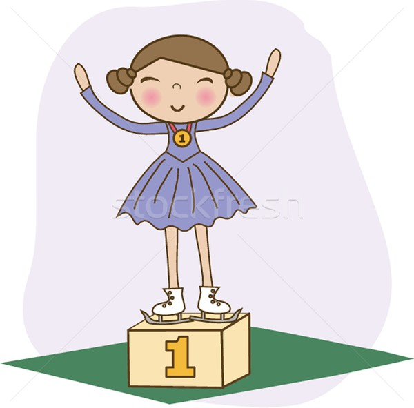 Figure skater 1st on the winner podium. Vector. Stock photo © mcherevan