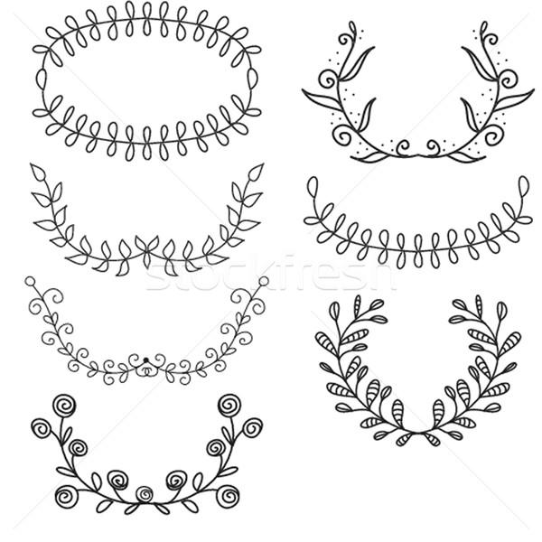 Establecer laurel corona blanco hoja fondo Foto stock © mcherevan