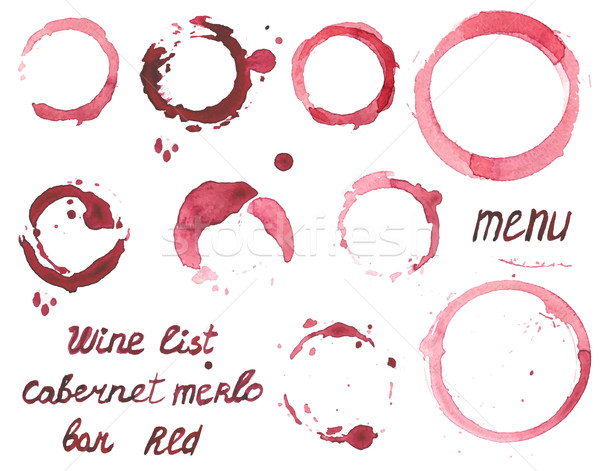 Vector set of watercolor painted wine stains Stock photo © mcherevan