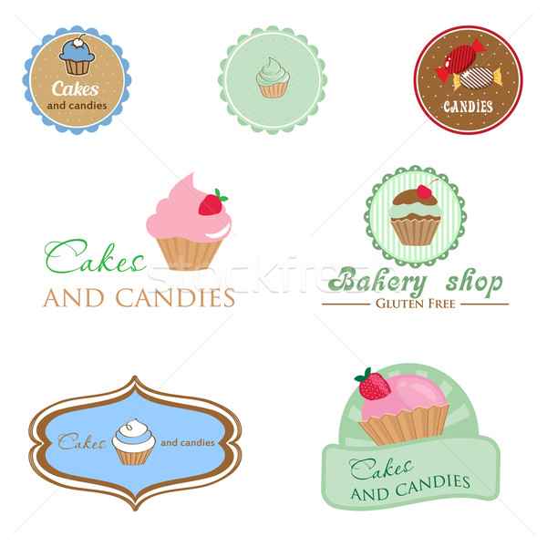 Set of vintage style logo with cupcake and candies.  Stock photo © mcherevan