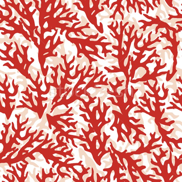 Vector seamless pattern with red coral. Good for textile, wallpapers, paper. Stock photo © mcherevan
