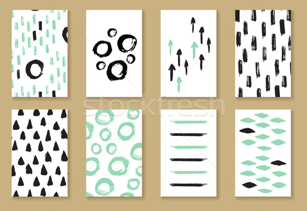 Ingesteld groet visitekaartje sjablonen zwart wit mint Stockfoto © mcherevan