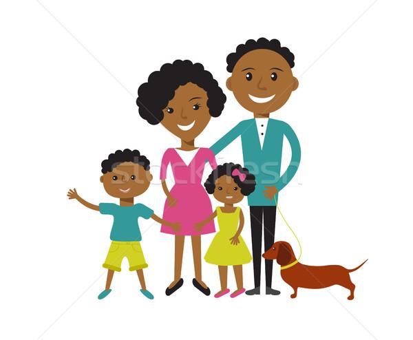 Felice african american famiglia figlio figlia cane Foto d'archivio © mcherevan