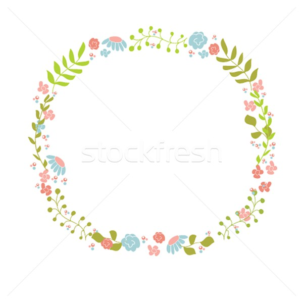 Cute floral couronne design Pâques Photo stock © mcherevan