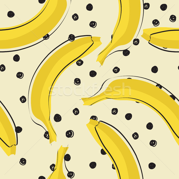 Seamless stylish pattern with fresh yellow bananas in flat style. Bananas pattern for cloth, textile Stock photo © mcherevan