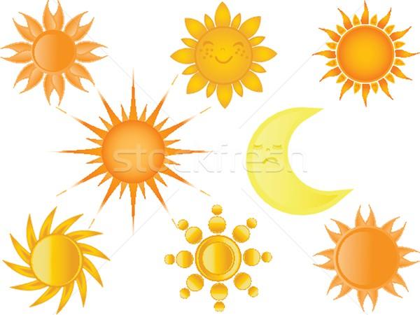 Foto stock: Coleção · verão · laranja · nascer · do · sol · desenho · animado · luz · do · sol