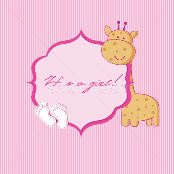 Baby girl arrival announcement card. Stock photo © mcherevan