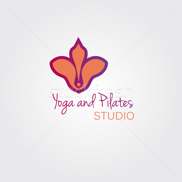 Lotus flower logo template concept. Logo sign for yoga studio or beauty salon. Stock photo © mcherevan
