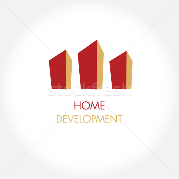 Abstract construction or real estate company logo design. Vector icon with buildings and houses Stock photo © mcherevan