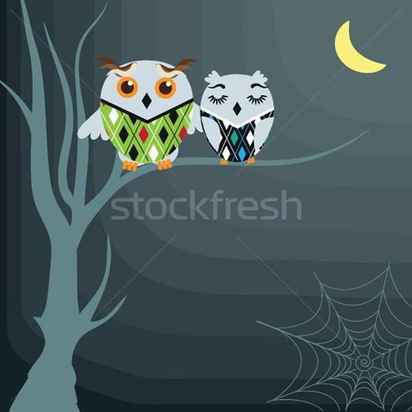 Halloween hemel boom wolken maan vogel Stockfoto © mcherevan
