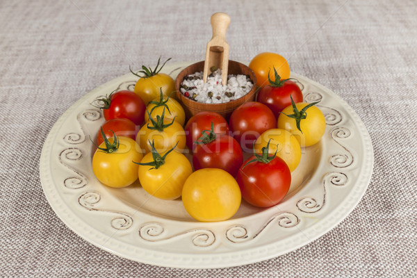 Fresh red and yellow cherry tomatoes and salt shaker on porcelain plate in a rustic style Stock photo © mcherevan