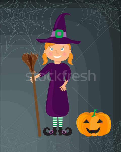 Little witch, girl in a halloween costume Stock photo © mcherevan