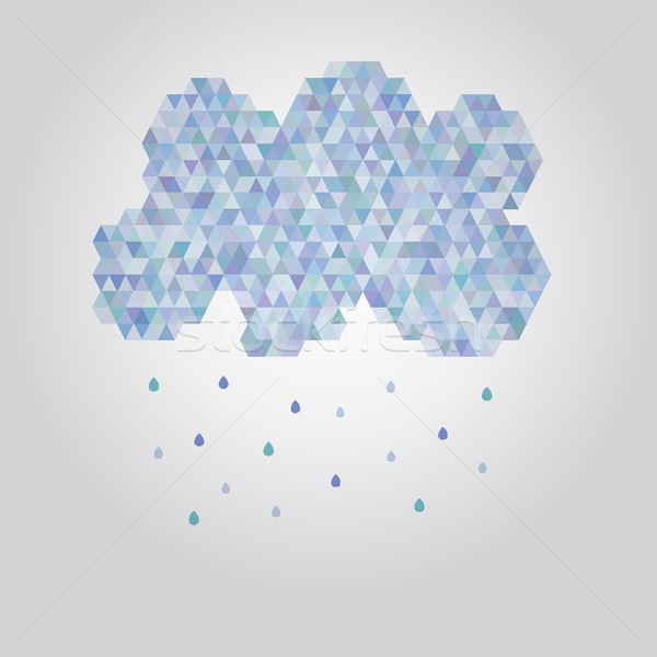 Abstract illustration polygonal cloud with rain drops Stock photo © mcherevan