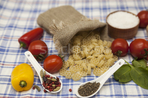 Rotelle  Italian pasta set for the creation : cherry tomatoes, olive oil, balsamic sauce, garlic, sp Stock photo © mcherevan