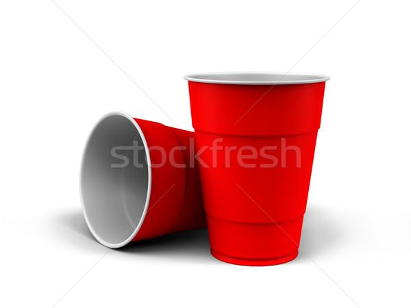 Műanyag csészék render általános fehér csoport Stock fotó © Mcklog