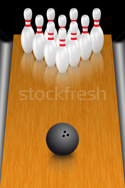 Bowling illustration boule de bowling permanent bois amusement Photo stock © Mcklog