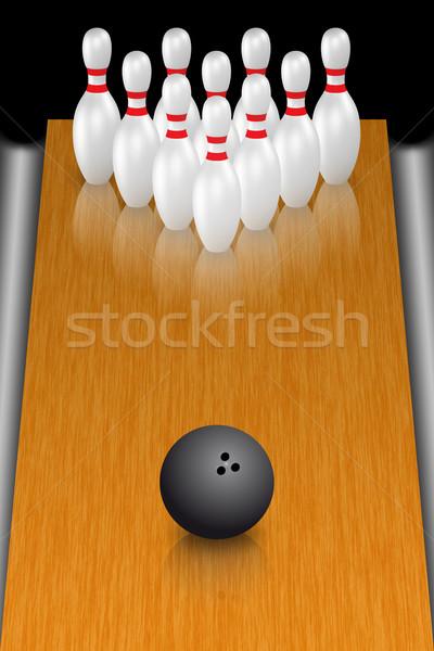 Bowling illustrazione palla da bowling piedi legno divertimento Foto d'archivio © Mcklog