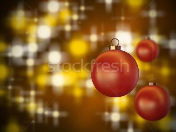 Karácsony gömbök piros akasztás terv tél Stock fotó © Mcklog